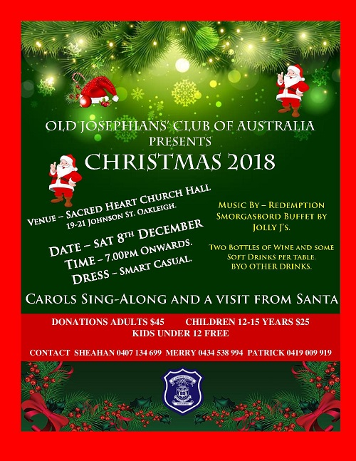 Christmas In Australia Date.Elanka Old Josephians Club Of Australla Presents
