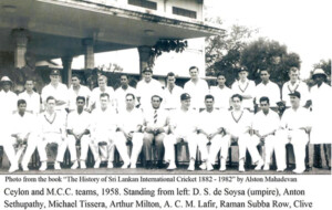 Ceylon Cricketers in late fifties with the MCC