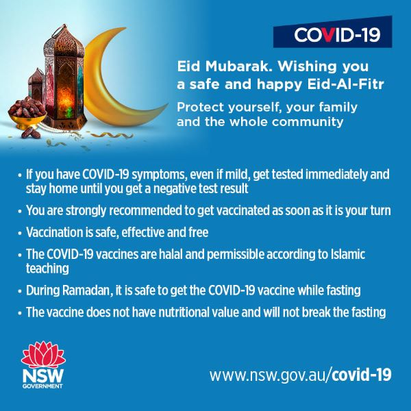 Wishing you a safe and happy Eid-Al-Fitr' - NSW Health and MHCS
