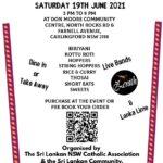 Food Fair Sri Lankan - NSW Catholic Association (SLNSWCA) - Saturday 19th June, 3pm-10pm - PRE-ORDER details