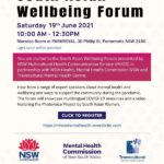 INVITATION: South Asian Wellbeing Forum Sat 19 June 2021 10 am to 12.30 pm at PARKROYAL Parramatta