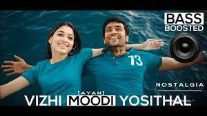 vizhi moodi yosithal bass boosted song ayan thamil movie  4k beatz